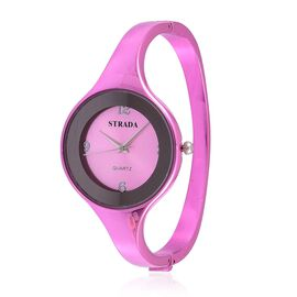 STRADA Japanese Movement Pink Colour Dial Water Resistant Purple Colour Bangle Watch in Silver Tone with Stainless Steel Back