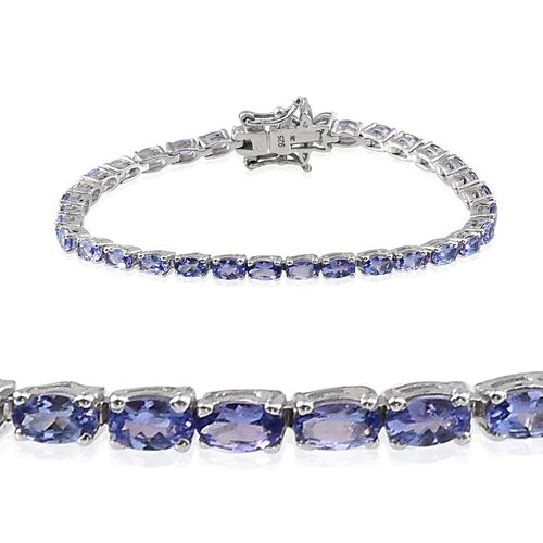 Tanzanite (Ovl), Diamond Tennis Bracelet (Size 7) in Platinum Overlay Sterling Silver 9.005 Ct.