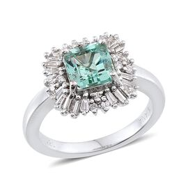 ILIANA 18K W Gold Boyaca Colombian Emerald (Oct 1.25 Ct), Diamond Ring 1.650 Ct.