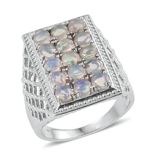 Ethiopian Welo Opal (Rnd) Ring in Platinum Overlay Sterling Silver 3.000 Ct.