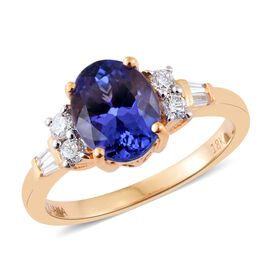 ILIANA 18K Y Gold AAA Tanzanite (Ovl 1.75 Ct), Diamond (SI/G-H) Ring 2.000 Ct.