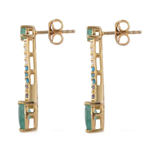GP Kagem Zambian Emerald (Pear), Malgache Neon Apatite, Tanzanite and White Topaz Earrings (with Push Back) in 14K Gold Overlay Sterling Silver 2.000 Ct.