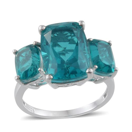 Capri Blue Quartz (Cush 7.50 Ct) 3 Stone Ring in Platinum Overlay Sterling Silver 11.250 Ct.