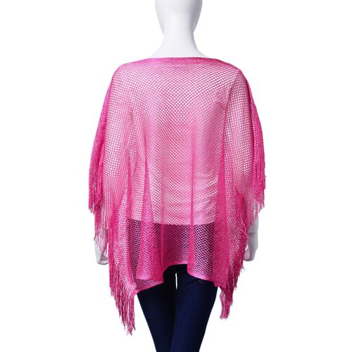 Fuchsia Colour Poncho with Tassels (Size 100x60 Cm)