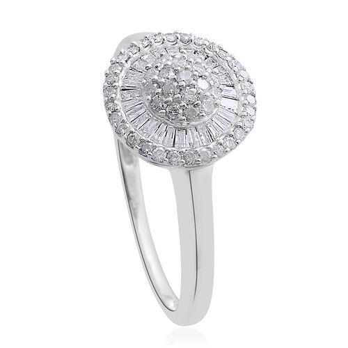 9K White Gold 0.50 Carat Diamond Cluster Disc Ring SGL Certified I3 G-H.