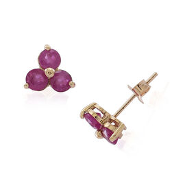 9K Y Gold Burmese Ruby (Rnd) Stud Earrings (with Push Back) 1.750 Ct.
