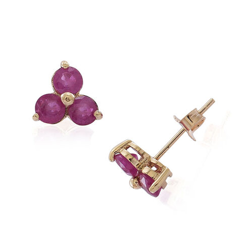 9K Y Gold Burmese Ruby (Rnd) Stud Earrings (with Push Back) 1.750 Ct.