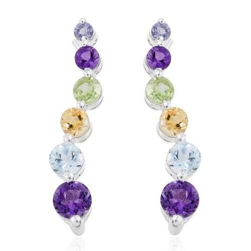 Amethyst (Rnd), Sky Blue Topaz, Hebei Peridot, Citrine and Iolite Journey of Life Earrings in Sterling Silver.