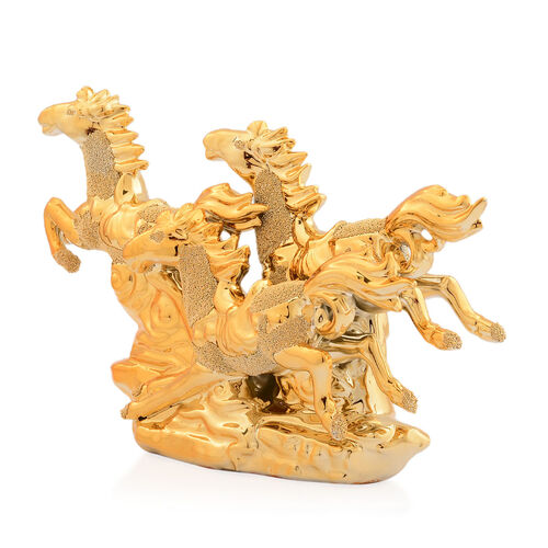 Home Decor - Golden Colour Ceramic Three Horses (Size 25x16x6 Cm)