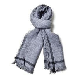 Grey and Black Colour Scarf with Tassels (Size 190x60 Cm)