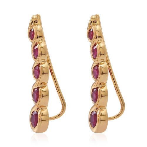 Burmese Ruby (Rnd) Climber Earrings in 14K Gold Overlay Sterling Silver 1.500 Ct.