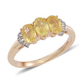 RARE ILIANA 18K Y Gold Yellow Sapphire (Ovl 1.66 Ct), Diamond Ring 1.770 Ct.