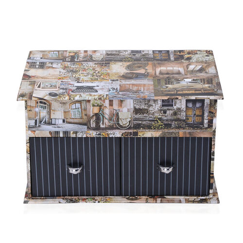 Multi Colour House Pattern Jewellery Box with Mirror Inside (Size 9x21.5x13.5 Cm)