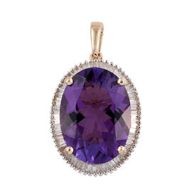 One Time Deal- 9K Y Gold AAA Zambian Amethyst (Ovl), Diamond (I3/G-H) Pendant 13.150 Ct.