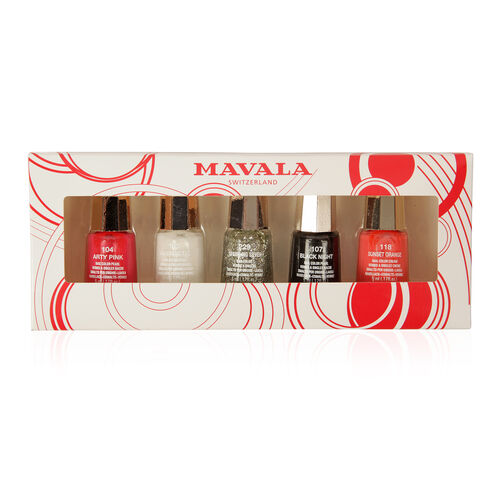 Mavala- Party Nights 5 x Nail Polish 5ml- Sunset Orange, Arty Pink, Antartic, Sparkling Silver and Black Night