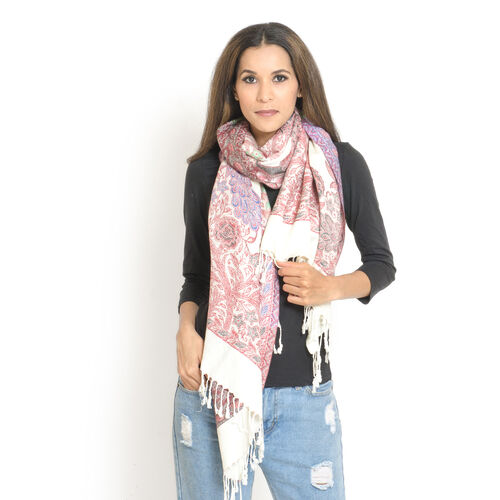 White and Multi Colour Peacock Pattern Jacquard Scarf with Fringes (Size 200x70 Cm)