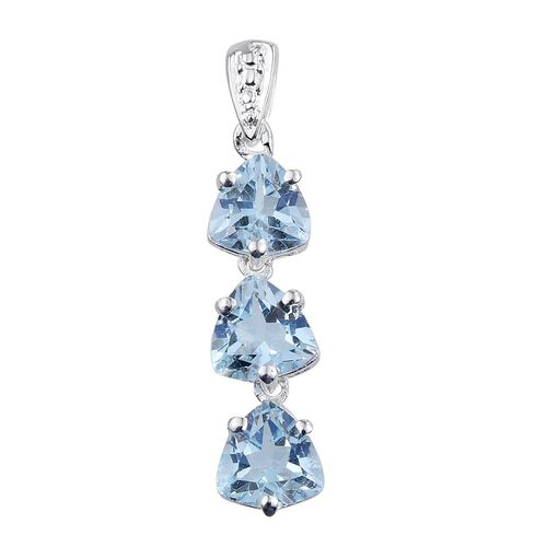 Sky Blue Topaz (Trl) Trilogy Pendant in Sterling Silver 2.500 Ct.