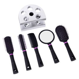 Set of 5 - Black Colour Hair Brushes Including Flat Comb, Flat Modelling Comb, Roll Modelling Comb, Massage Comb and Mirror with Silver Colour Steady Stand