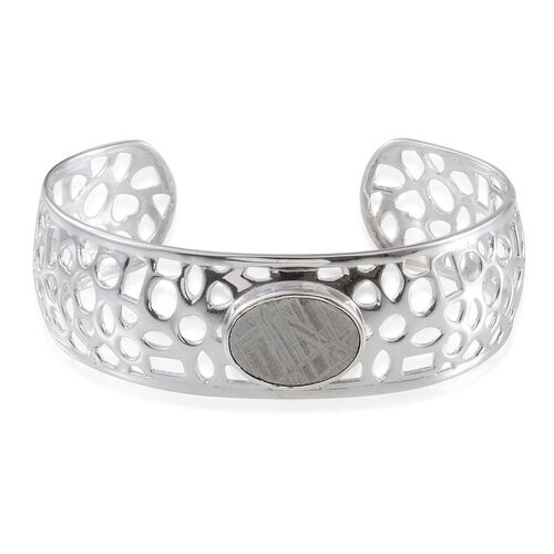 Meteorite (Ovl) Bangle in Platinum Overlay Sterling Silver (Size 7.5) 17.000 Ct.( 20 Grms Silver )