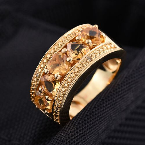 Citrine (Hrt), Yellow Diamond Ring in ION Plated 18K Yellow Gold Bond 2.010 Ct.