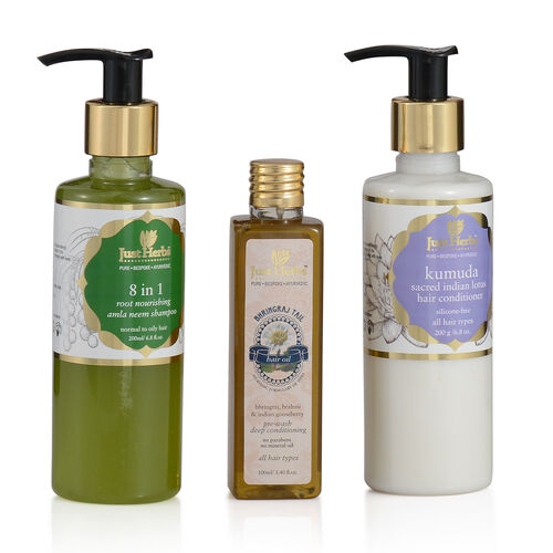 (Option 1) Just Herbs 8 in 1 Root Nourishing Amla Neem Shampoo (200ml), Bhringraj Oil (100 ml) and Kumuda Conditioner (200g) (Oily Hair and Hairfall)