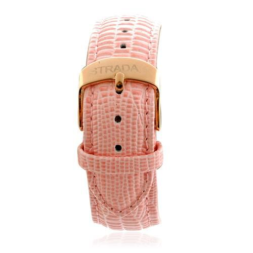 STRADA Mother of Pearl, Red Austrian Crystal Watch in ION Plated 18K RG Stainless Steel With Genuine Pink Leather Band  0.003  Ct.