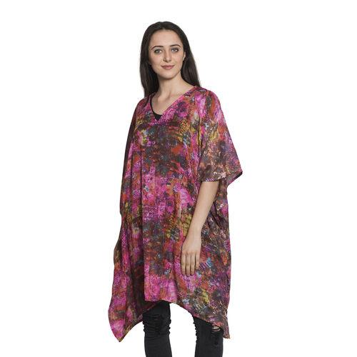 Rainbow Colour Splash Floral Pattern V-Neck Kaftan (Free Size)