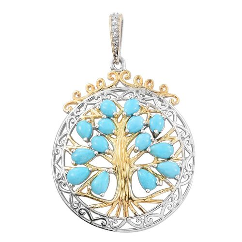 Limited Edition - Hand Crafted - Arizona Sleeping Beauty Turquoise (Pear) Tree of Life Pendant in Platinum and Yellow Gold Overlay Sterling Silver 2.500 Ct.