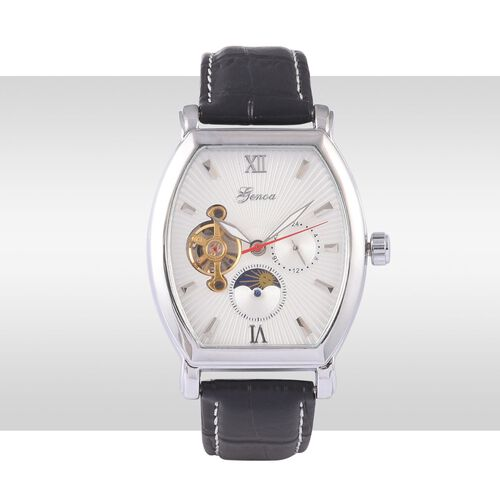 GENOA Automatic Skeleton White Dial Water Resistant Watch in ION Plated Silver with Stainless Steel Back and Black Strap