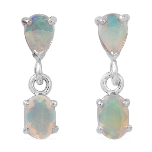 Ethiopian Welo Opal (Ovl) Earrings (with Push Back) in Rhodium Plated Sterling Silver 1.250 Ct.