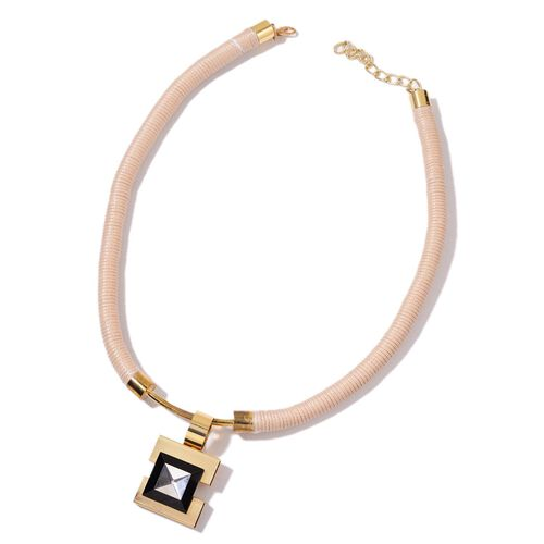 White and Black Crystal Square Pendant Necklace (Size 22 with 4 inch Extender) in Yellow Gold Tone