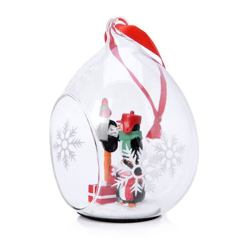 Home Decor - Set of 2 - Snowflake Glass Ornament with Two Penguins Inside (Size 11X7 Cm)