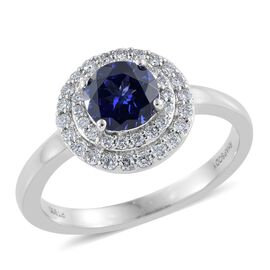 RHAPSODY 950 Platinum 1.25 Carat AAAA Tanzanite Wedding Ring With Diamond VS E-F