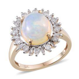 9K Y Gold Ethiopian Welo Opal (Ovl 3.15 Ct), Diamond Ring 3.750 Ct.