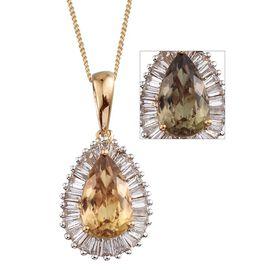 ILIANA 18K Y Gold Turkizite (Pear 2.75 Ct), Diamond Pendant With Chain 3.500 Ct.