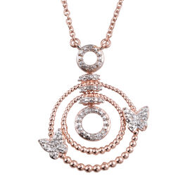 Diamond (Rnd) Dual Butterfly Necklace (Size 18) in Platinum, Rose Gold Tone