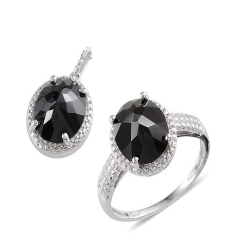 Boi Ploi Black Spinel (Ovl) Ring and Pendant in Sterling Silver 12.000 Ct.