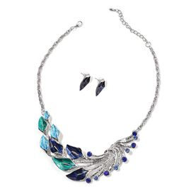 Blue Austrian Crystal Enameled Necklace (Size 18) and Earrings in Silver Tone