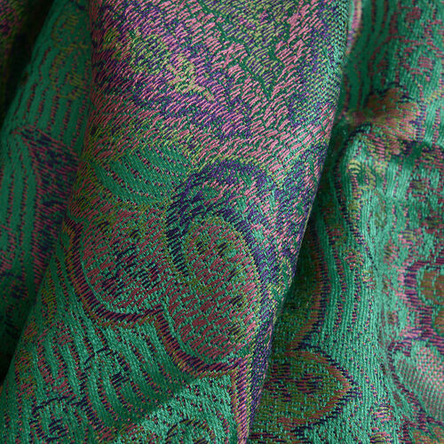 SILK MARK - 100% Superfine Silk Green, Pink and Multi Colour Jacquard Scarf with Fringes (Size 180x70 Cm) (Weight 125 - 140 Grams)