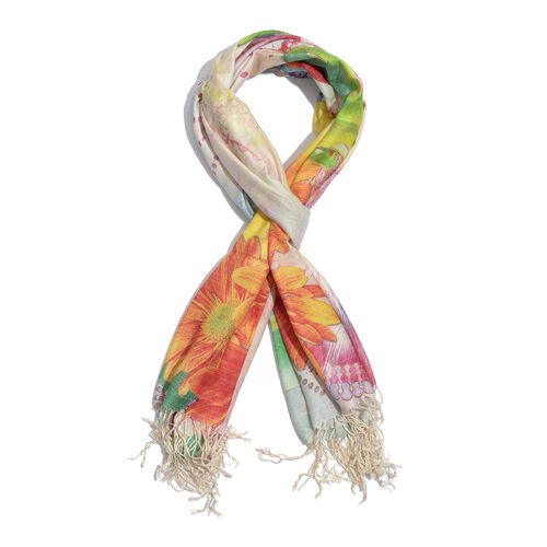100% Modal Floral Digital Print Green and Multi Colour Scarf (Size 190x70 Cm)