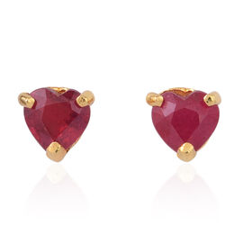African Ruby (Hrt) Stud Earrings (with Push Back) in 14K Gold Overlay Sterling Silver 2.250 Ct.