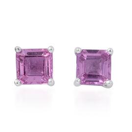 ILIANA 18K W Gold Pink Sapphire (Sqr) Stud Earrings (with Screw Back) 1.000 Ct.