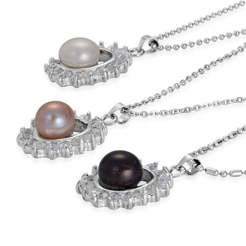 Set of 3 - Fresh Water Peach, White and Peacock Pearl, White Austrian Crystal Pendant With Chain in Silver Tone