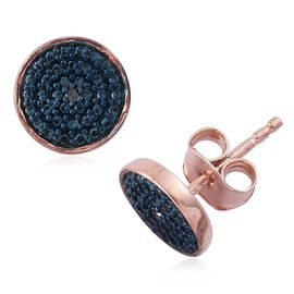 Blue Diamond Stud Earrings  in Rose Gold Overlay Sterling Silver