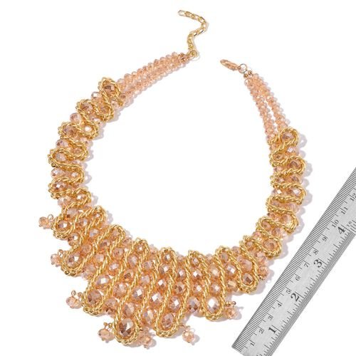 Simulated Champagne Diamond Necklace (Size 18 with 2 inch Extender) in Yellow Gold Tone