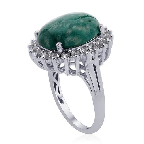 Russian Amazonite (Ovl 6.50 Ct) White Topaz Ring in Platinum Overlay Sterling Silver  7.500 Ct.