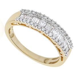 ILIANA 18K Yellow Gold 0.50 Carat Baguette and Round Diamond Half Eternity Ring SI G-H IGI Certified