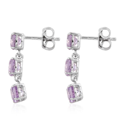 Rose De France Amethyst (Rnd) Earrings (with Push Back) in Platinum Overlay Sterling Silver 2.500 Ct.
