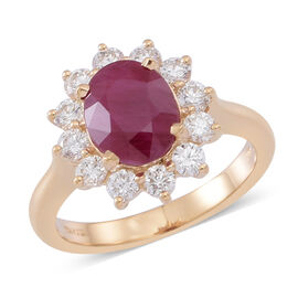 ILIANA 18K Y Gold Burmese Ruby (Ovl 3.00 Ct), Diamond Ring 4.000 Ct.