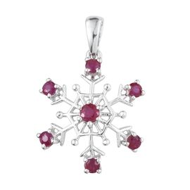 African Ruby (Rnd) Snowflake Pendant in Platinum Overlay Sterling Silver 1.250 Ct.